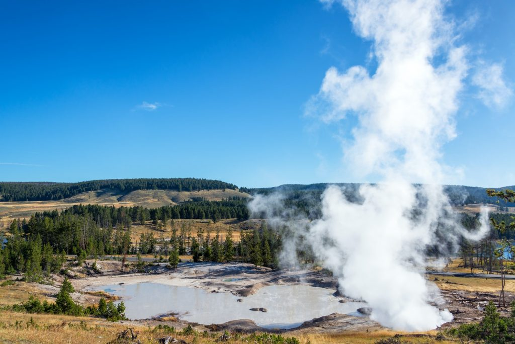 Steam at Mud Volcano Area